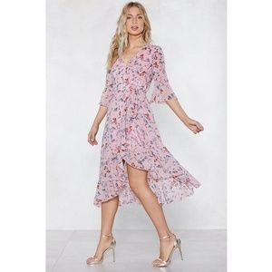 Nasty Gal Spring the Fun Floral Wrap Midi Dress